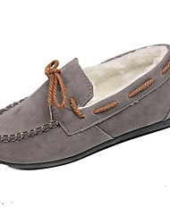 cheap -Women's Shoes Suede Fall Comfort Boat Shoes Flat Heel Round Toe Bowknot for Casual Black Gray Brown Red Pink