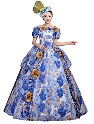 cheap -Victorian Rococo Costume Women's Adults' Party Costume Masquerade Blue Vintage Cosplay Satin Short Sleeves Floor Length