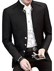 cheap -Men's Daily Plus Size Simple Vintage Casual All Seasons Blazer,Solid Stand Long Sleeve Regular Cotton Acrylic Polyester