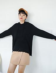 Women's Casual/Daily Regular Pullover,Solid Hooded Long Sleeves Acrylic Fall Winter Medium Micro-elastic