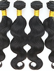 Human Hair Indian Natural Color Hair Weaves Sexy Body Wave Fashion Hair Extensions 4 Pieces Black