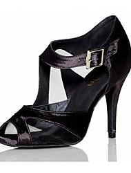 cheap -Women's Latin Tulle Silk Heel Indoor Buckle High Heel Black Red Customizable