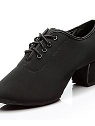 cheap -Women's Modern Shoes Oxford Sneaker / Split Sole Chunky Heel Customizable Dance Shoes Black / Red