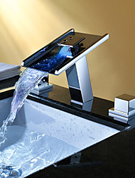 cheap -Bathroom Sink Faucet - Waterfall RGB Color-Changing LED Light Chrome Widespread Two Handles Three Holes