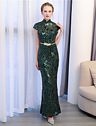Mermaid / Trumpet High Neck Ankle Length Sequined Formal Evening Dress with Sequins by Embroidered Bridal
