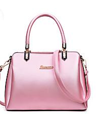 cheap -Women's Bags PU Tote Zipper Black / Silver / Blushing Pink
