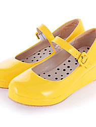 Lolita Shoes Sweet Lolita Princess Wedge Heel Shoes Solid 3 CM Pink Black White Yellow For PU Leather/Polyurethane Leather