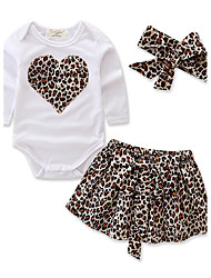 cheap -Girls' Leopard Clothing Set,Cotton Polyester Spring Summer Long Sleeve Floral Animal Print White