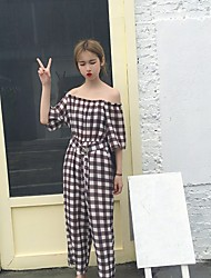 Feminino Simples Cintura Alta Micro-Elástica Chinos Calças,Solto Quadriculada