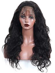 Недорогие -жен. Перуанские волосы Натуральные волосы 360 Лобовой 180% плотность С пушком Естественные кудри Парик Черный Средний
