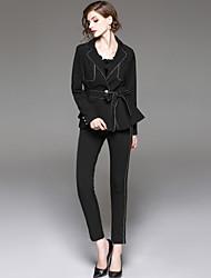 cheap -EWUS Women's Work Street chic Fall Shirt Pant Suits,Striped Shirt Collar Long Sleeve Polyester Inelastic