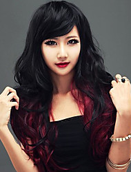 cheap -Synthetic Wig Wavy With Bangs Synthetic Hair Black Wig Women's Long Capless Black / Burgundy