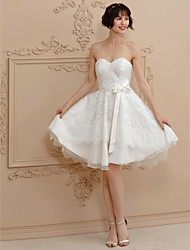 cheap -Princess Sweetheart Short / Mini Lace Satin Wedding Dress with Bow(s) Sashes/ Ribbons by LAN TING BRIDE®