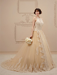 cheap -Princess Halter Chapel Train Lace Tulle Custom Wedding Dresses with Crystal Beading Appliques Ruffle by LAN TING BRIDE®