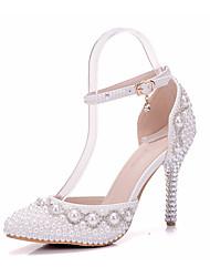 preiswerte -Damen Schuhe PU Frühling Herbst Komfort Neuheit Hochzeit Schuhe Spitze Zehe Kristall Applikation Perle Für Hochzeit Party & Festivität