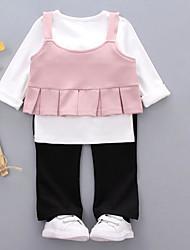 cheap -Girls' Solid Clothing Set,Cotton Fall Brown Blushing Pink Khaki