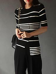 Standard Cardigan Da donna-Per uscire A strisce Monocolore Rotonda Mezza manica Altro Primavera Inverno Medio spessore Media elasticità