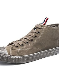 cheap -Men's Shoes Denim Fabric Spring Fall Comfort Sneakers Lace-up For Casual Khaki Gray Black