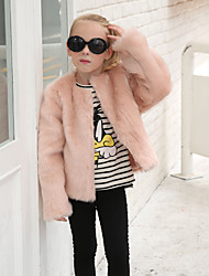 cheap -Girls' Solid Jacket & Coat, Wool Rabbit Fur Raccoon Fur Winter Fall Long Sleeves Blushing Pink