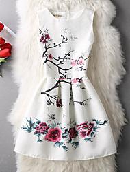 Robe Fille de Anniversaire Sortie Décontracté / Quotidien Vacances Couleur Pleine Fleur Imprimé Coton Polyester Printemps Eté Sans Manches