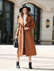 Cappotto Da donna Casual Ufficio Semplice Vintage Moda città Autunno Inverno,Tinta unita Bavero classico Cashmere Lana Poliestere Lungo