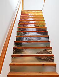 cheap -13pcs/set Sunshine Waterfall Stairway Wall Stickers Mural Stairs Decal Beautiful Landscape Creative Corridor Floor Sticker Home Decor 18*100*13cm