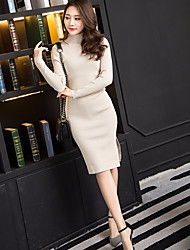 cheap -Women's Going out Sheath Dress,Solid Crew Neck Knee-length Long Sleeves Acrylic Winter Mid Rise Stretchy Thick