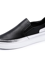 cheap -Women's Shoes Cowhide Spring / Fall Comfort Loafers & Slip-Ons Round Toe Split Joint for White / Black