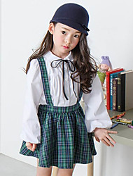 cheap -Girls' Plaid Clothing Set,Cotton Spring Fall Long Sleeve Outfits Grid Leisure Green Red