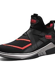 Недорогие -Для мужчин обувь Тюль Осень Зима Удобная обувь Кеды На эластичной ленте Назначение Повседневные Черный Красный