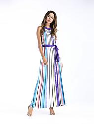 cheap -Women's Daily Holiday Sheath Dress,Striped Round Neck Maxi Sleeveless Polyester All Seasons High Rise Inelastic Medium