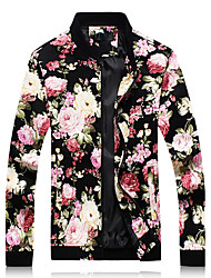 cheap -Men's Simple Casual Plus Size Jacket-Floral Print Stand