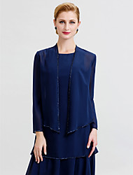 cheap -Long Sleeves Chiffon Wedding Party / Evening Women's Wrap With Beading Coats / Jackets