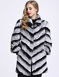 BF-Fur Style Women's Daily Sophisticated Winter Fur Coat,Color Block Shirt Collar Long Rabbit Fur