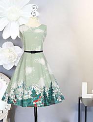 Robe Fille de Anniversaire Sortie Vacances Couleur Pleine Fleur Imprimé Coton Polyester Printemps Eté Sans Manches