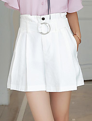 cheap -Women's High Rise Inelastic Wide Leg Shorts Pants,Casual Solid Summer