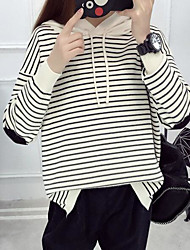 Women's Going out Regular Pullover,Striped Color Block Hooded Long Sleeves Others Spring Winter Medium Micro-elastic