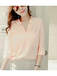 Chemisier Femme,Couleur Pleine Sortie Décontracté / Quotidien simple Eté Demi Manches Col en V Acrylique Polyester Moyen