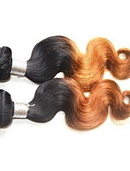 Remy Brazilian Ombre Hair Weaves Body Wave Hair Extensions Two-piece Suit Black/Medium Brown/Strawberry Blonde