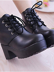 cheap -Women's Shoes Nappa Leather Winter Combat Boots Boots Chunky Heel Booties/Ankle Boots For Casual Black White