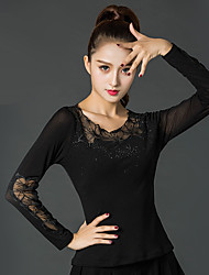 cheap -Latin Dance Tops Women's Performance Ice Silk Lace Long Sleeve Tops