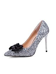 Damen Schuhe Paillette Sommer Herbst Neuheit Pumps High Heels Stöckelabsatz Spitze Zehe Schleife Paillette Für Kleid Schwarz Silber