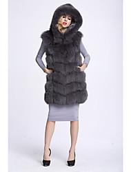 Feminino Colete Casual Sofisticado Outono Inverno,Sólido Longo Pêlo de Raposa Com Capuz