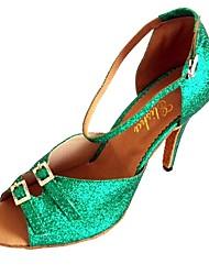Women's Latin Glitter Sandal Indoor Buckle Customized Heel Green