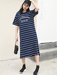 preiswerte -Damen Lose T Shirt Kleid-Ausgehen Lässig/Alltäglich Einfach Gestreift Rundhalsausschnitt Midi Halbe Ärmel Baumwolle Sommer Mittlere