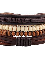 billiga -Herr Dam Sträng Armband Läder Armband - Läder Bohemisk Armband Kaffe Till Casual Utekväll