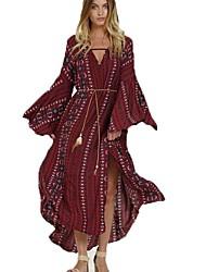 Ample Balançoire Robe Femme Soirée Décontracté / Quotidien Imprimé Col en V Maxi Manches Longues Rayonne Polyester Printemps Automne