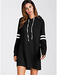 cheap -Women's Daily Casual Hoodie Striped Hooded Inelastic Nylon Long Sleeve Winter