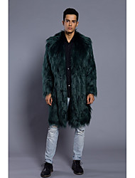 cheap -Men's Daily Work Simple Vintage Casual Punk & Gothic Winter Fur Coat,Solid V Neck Long Sleeve Long Faux Fur