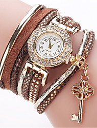 cheap -Women's Fashion Watch Bracelet Watch Simulated Diamond Watch Quartz Imitation Diamond PU Band Analog Charm Casual Elegant White / Blue / Red - Red Green Light Green